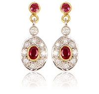 Ruby Diamond Pendant Earrings